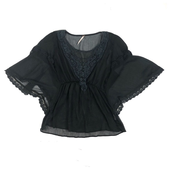 Free People Tops - 🦋 Free People Black Sheer Boho Blouse Size Small